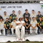 Bouncy Stilt Cricketer with cricket team