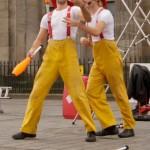 Firemen juggling